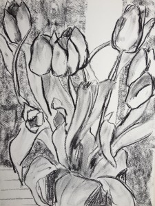 charcoal tulips closeup