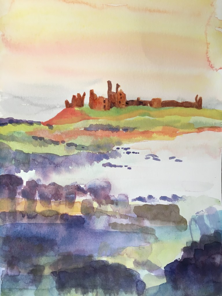 Watercolour of Dunstanburgh Castle