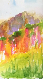 Watercolour of Asturias hillside