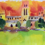 watercolour of durham cathedral with orange sky